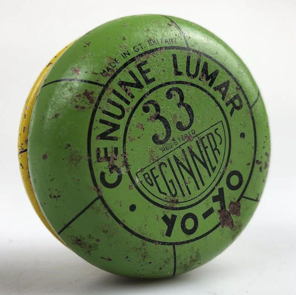 Vintage Genuine LUMAR 33 Yellow   Green Tin Plate YO-YO RARE YOYO RETRO