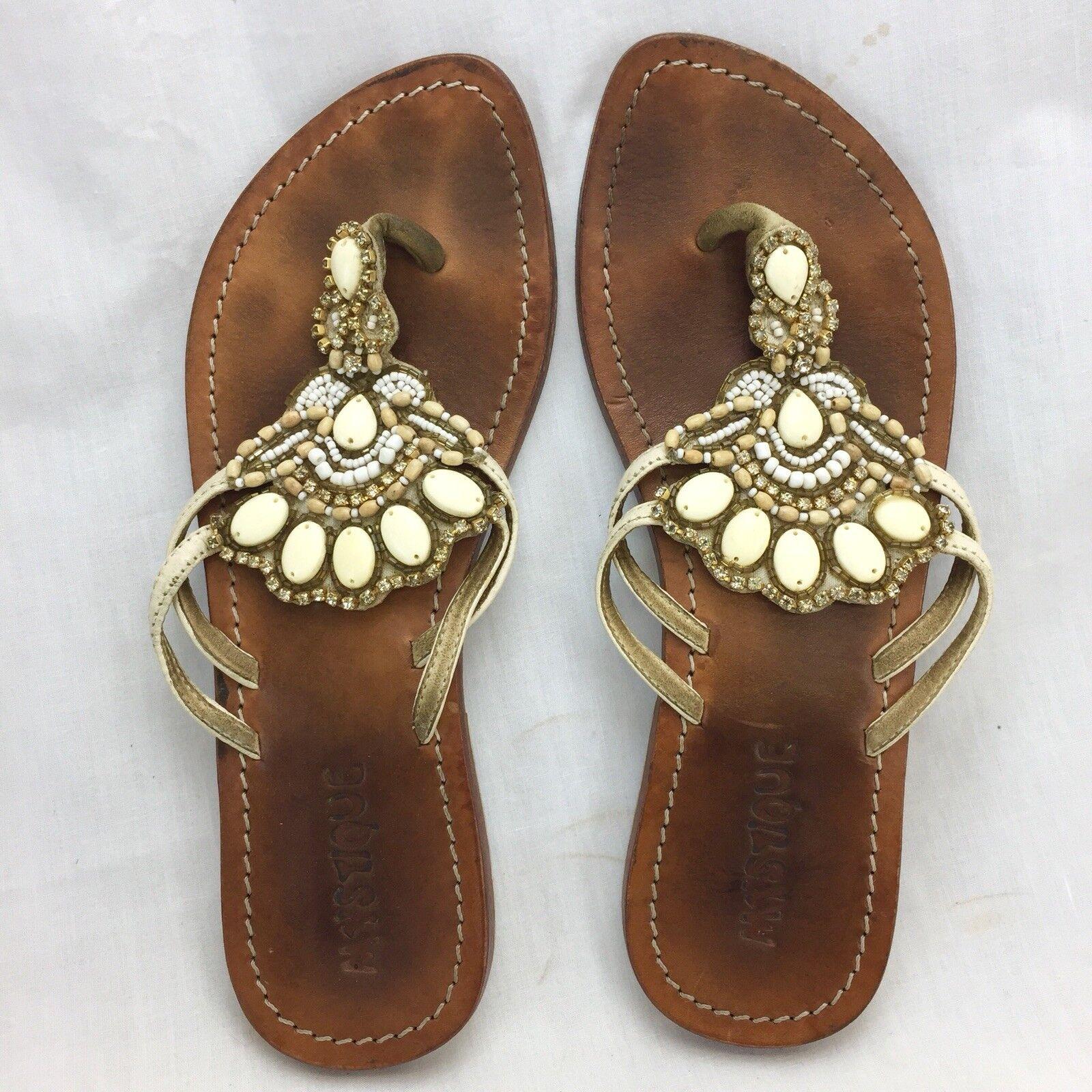 Mystique Flip Flop Thong Leather Sandals Womens Size 6 Stones Embellished