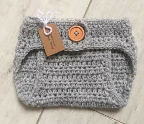 Handmade Crocheted//Knitted Adjustable Waist Nappy Cover 0-3 Months Various Col