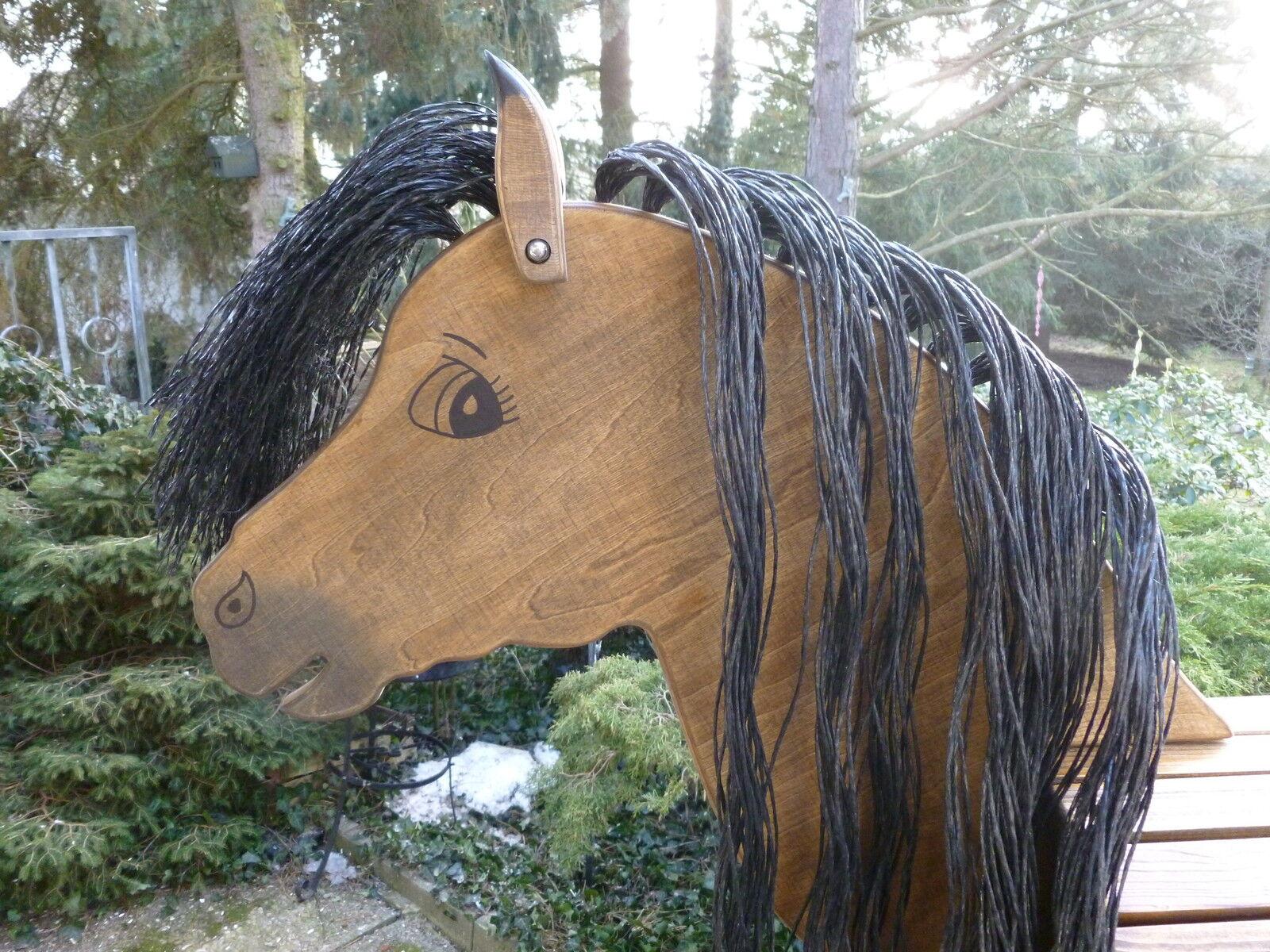 100cm Holzpferd Holzpony Voltigierpferd Spielpferd Pferd Pony mit Maul Maul Maul  NEU 8586a9