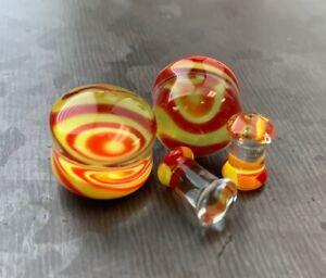 PAIR Lollipop Swirl Design Pyrex Glass Double Flare Plugs Gauges Body Jewelry
