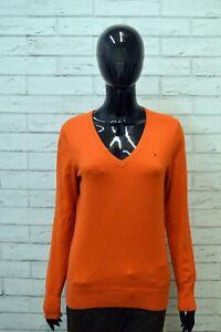 Maglione-Donna-TOMMY-HILFIGER-Taglia-L-Felpa-Pullover-Arancione-Cardigan-Sweater