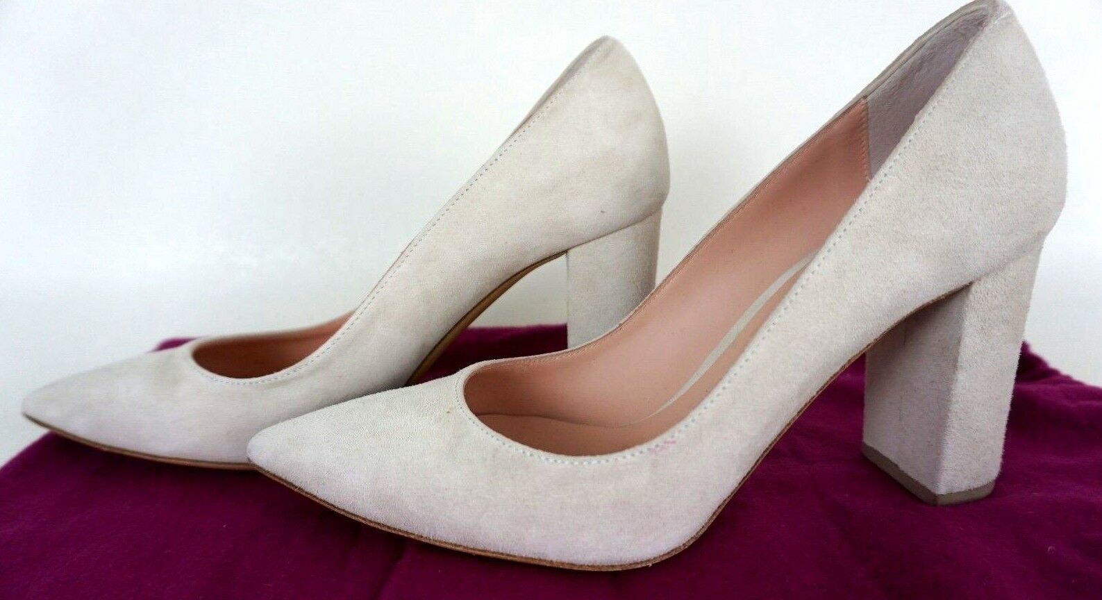 Fauzian Jeunesse shoes Womens Sz 37-7 Ivory Suede Pointy Toe Block heel 1024