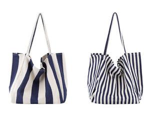 Women-Large-Canvas-Shopping-Bag-Fashion-Striped-Cloth-Reusable-Tote-Bag