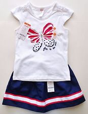New gymboree outfit t shirt skirt girls size 5 5T white red blue butterfly