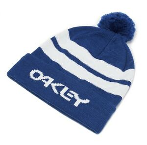 caeef25c OAKLEY B1B LOGO BEANIE BOBBLE HAT GENUINE OFFICIAL STRIPED DARK BLUE ...