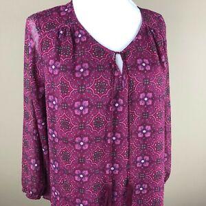 St-John-039-s-Bay-Women-039-s-3-4-Sleeve-Top-Blouse-Size-L-Pink-Red-Geometric-Pattern