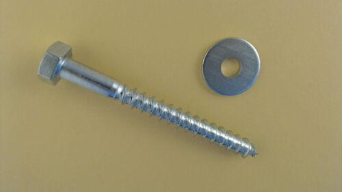 Scheiben DIN 571 Sechskant Holzschrauben verzinkt 20mm-180mm Ø 5 mm-10 mm