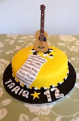 Pleasant Handmade Guitar Sugar Paste Fondant Edible Cake Topper Birthday Personalised Birthday Cards Akebfashionlily Jamesorg