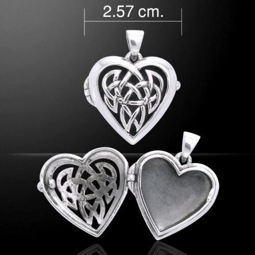 Celtic Heart Locket .925 Sterling Silver Pendant by Peter Stone Jewelry