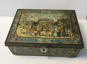 Antique-German-Bonbons-Tin-Candy-Box-with-Beach-Theme-and-a-Sailor-Inside-1900-039-s
