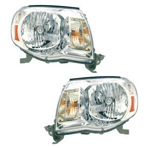Fits 05-11 Toy Tacoma Driver /& Passenger Side Headlight Assy w//Chrome Bezel