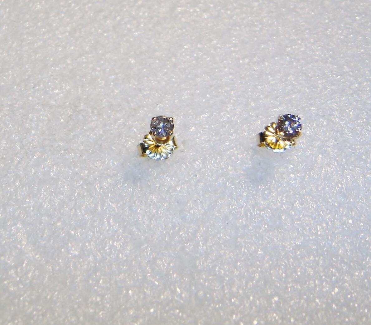 14K YELLOW gold 1 3 CARAT TOTAL WEIGHT DIAMOND STUD PIERCED EARRINGS  N619-F