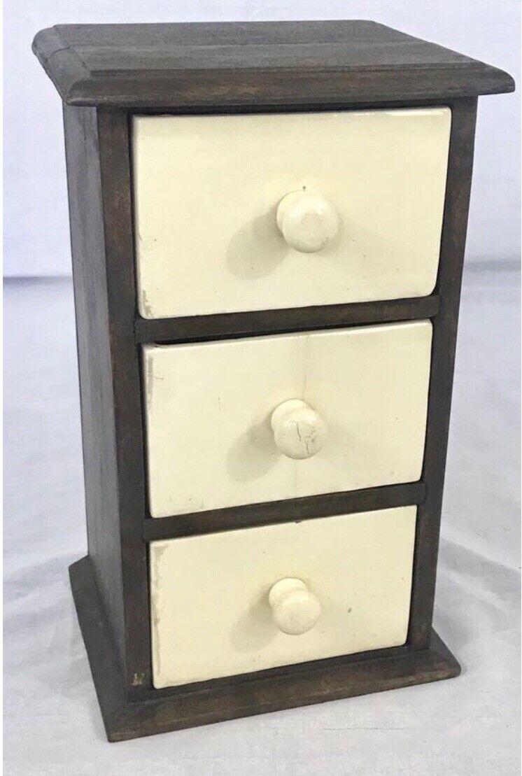 Spice Box Bijoux Poitrine indien bois manguier avec 3 Céramique Tiroirs