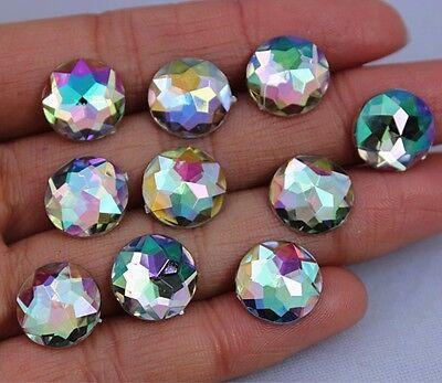 100PC 12mm AB Acrylic Flat Back Rhinestones Beads Round Acrylic crafts  ZZ-89/91