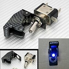 CARBON FIBER BLUE LIGHT LED AIRCRAFT TYPE TOGGLE SWITCH