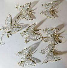 Lot of 7 Glass Butterfly Gold Accents Christmas Ornaments Boxed