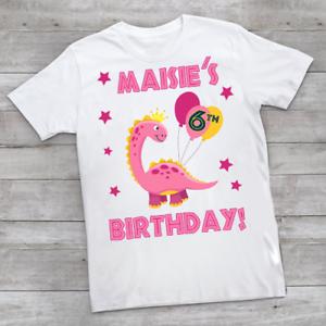 Personalised Dinosaur Princess Birthday Children's Kids T Shirts T-Shirt Top