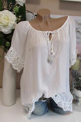 Chemisier tunique vintage Carmen Häkel dentelle shirt Hippie Oversize Blanc 40 42 44