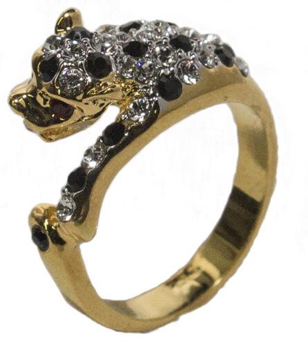 Women/'s 18 Kt Gold Plated Dress Ring Austrian Crystal Leopard 021