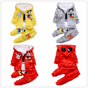 3pcs Toddler Kids Girls Spring//Fall Minnie Mouse Hooded Vest+Tops+Pants Clothes
