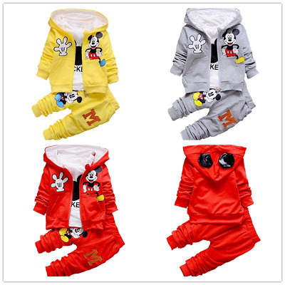 Toddler Girls Boys Outfits Mickey Mouse Hooded Coat Tops Pants Set Clothes