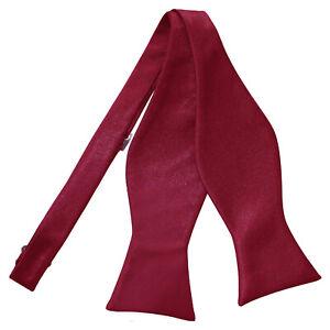 Burgundy-Mens-Self-Tie-Bow-Tie-Satin-Plain-Solid-FREE-Pocket-Square-by-DQT