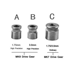 MK8 MK7 Drive Gear for 1.75 3mm Filament 3D Printer Extruder Pulley 5mm Shaft