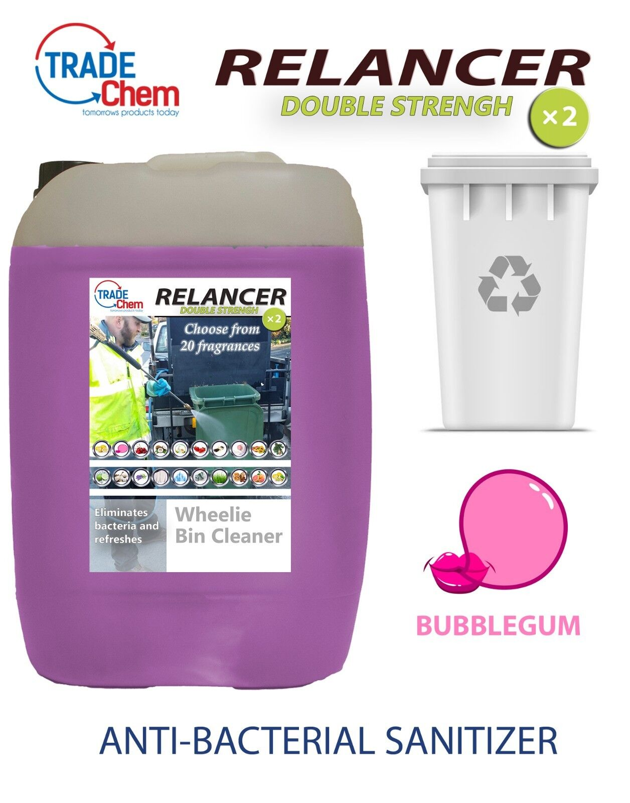 Wheelie Bin Cleaner 25L Anti-Bacterial Double Strength Bubblegum