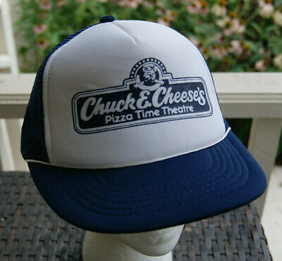 Chuck E Cheese Pizza Time Theatre Trucker Hat Vintage 80's Snapback Cap Blue