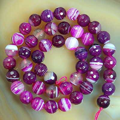 """Faceted Magenta Striated Agate Round Beads 15"""" 6,8,10,12mm Pick Size"""