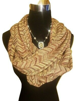3695742295b NEW! Missoni Large Knit INFINITY SCARF - Gold Metallic Chevron | eBay
