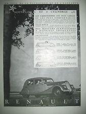 PUBLICITE DE PRESSE RENAULT COUPE CABRIOLET COACH CONDUITE INTERIEURE AD 1935