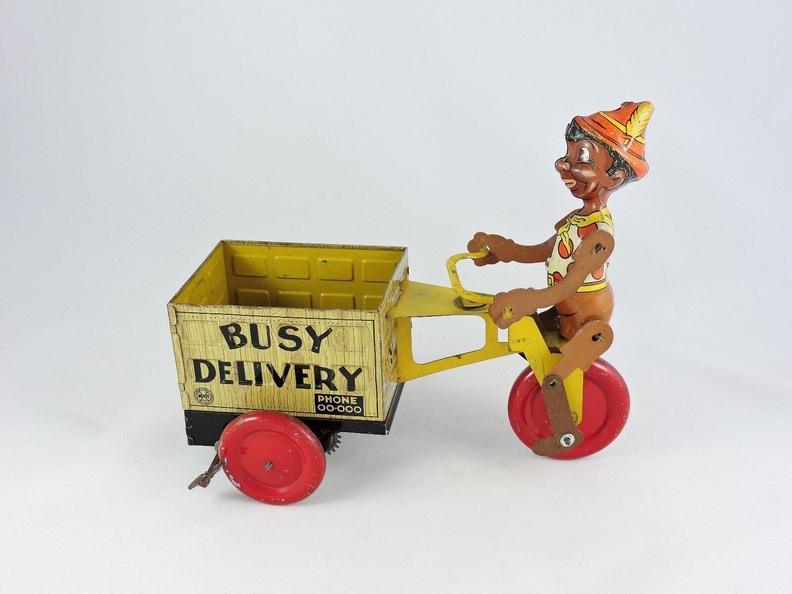 Marx ocupado entrega Wind-Up Juguete De Estaño Negro Pinocho 1930s Vintage Bicicleta Ciclo Carro