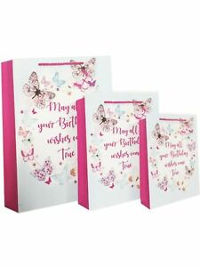 Image Is Loading 1 Medium Size Birthday Gift Bag Butterfly Design
