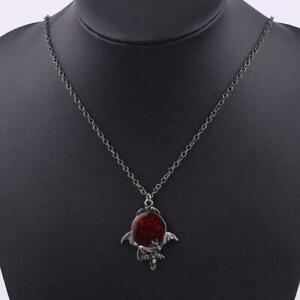 Red-Crystal-Vampire-Gothic-Fledermaus-Anhaenger-Halloween-Schmuck-Halskette-S8L2