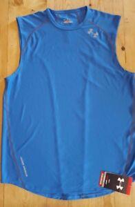 15eac803278020 Under Armour Men s Heatgear Draft 3 Sleeveless Running T shirt Blue ...