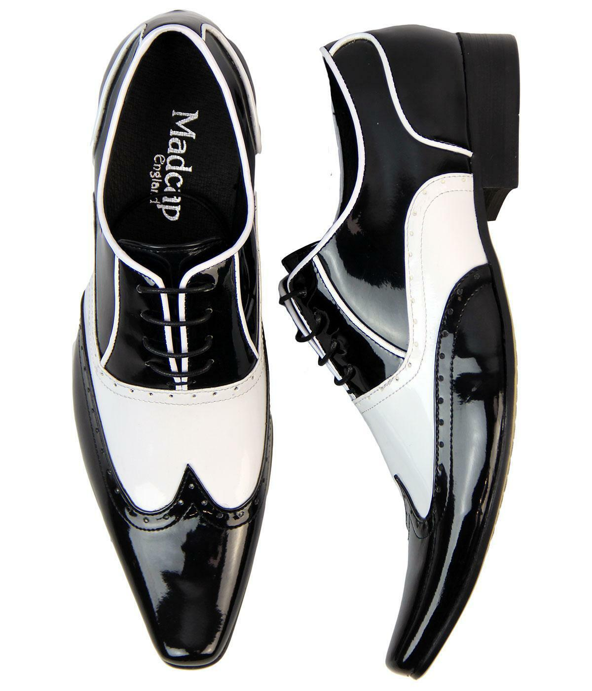 MADCAP ENGLAND RETRO MOD MENS 50s BLACK/WHITE SHOES BROGUES Winklepickers Aijaz