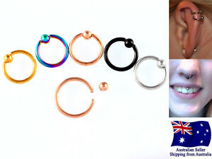 316L-Steel-Gold-Black-PVD-Nose-Ear-Lip-Nipple-16g-Captive-Ring-With-3mm-Ball-1pc