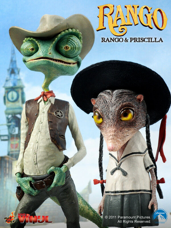 Hottoys 2011 Rango & Priscilla Vinyl Doll deluxe set Johnny Depp Anime Pixar
