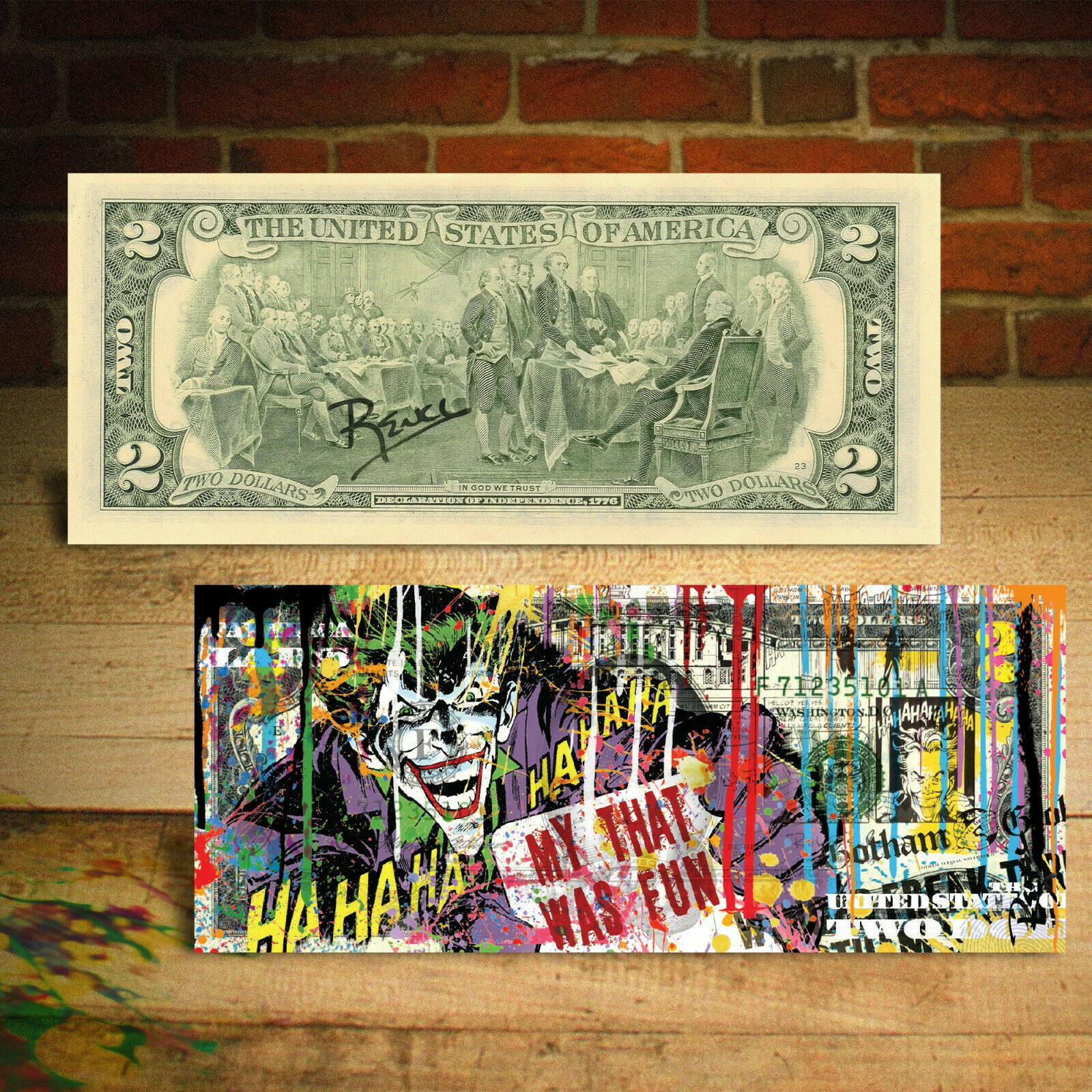 JOKER DC Comics Movie Genuine Legal Tender $2 U.S. Bill HAND-SIGNED by Rency 1