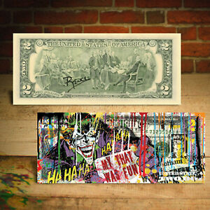 JUSTICE LEAGUE Movie OFFICIAL Rency Banksy ART GENUINE U.S $2 Bill HAND-SIGNED