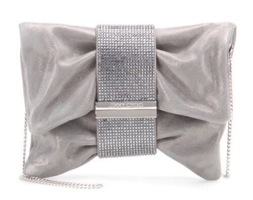 Jimmy Choo Crystal Silver Metallic Chandra Clutch by Jimmy Choo
