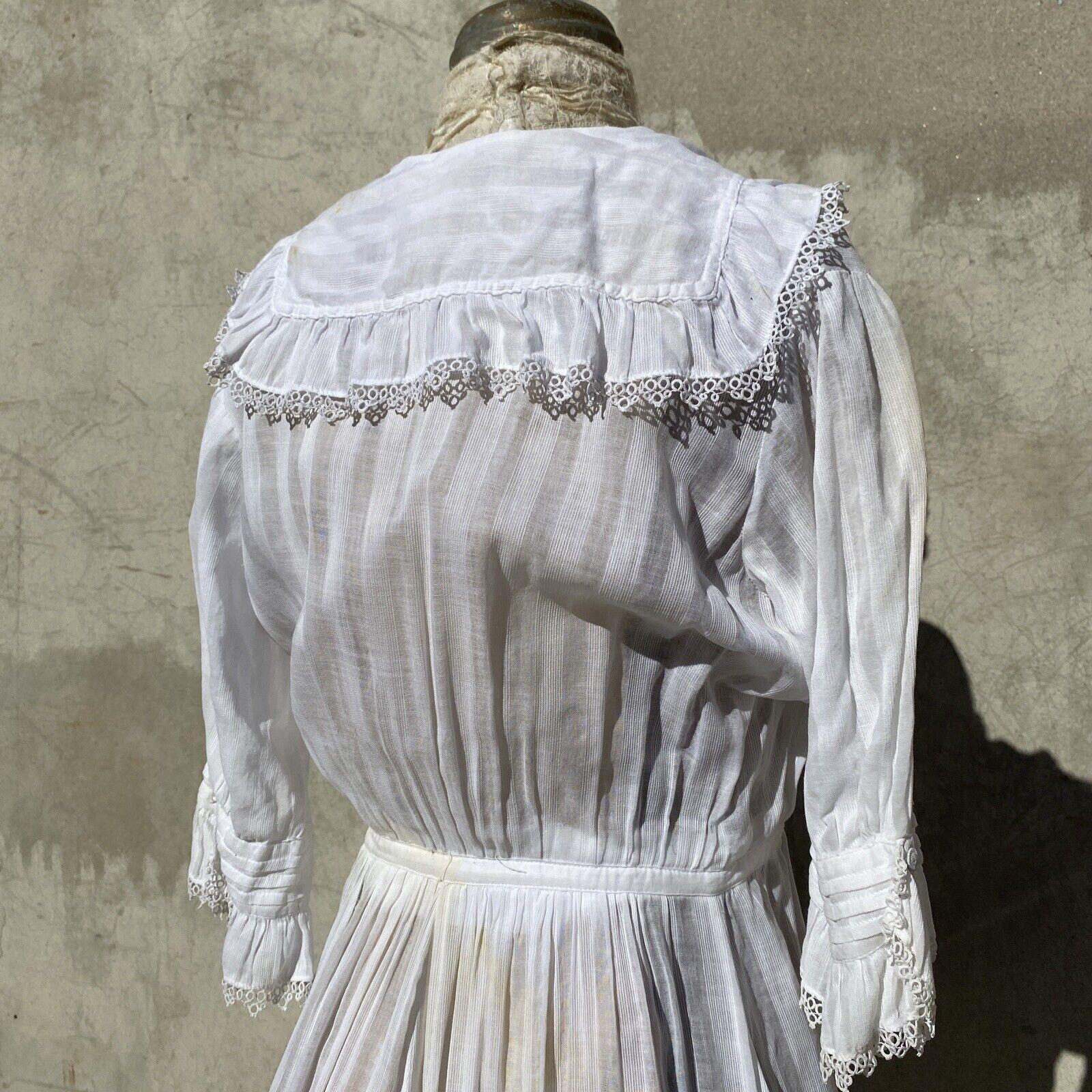 Antique Edwardian White Cotton Tea Dress Maxi Lac… - image 11