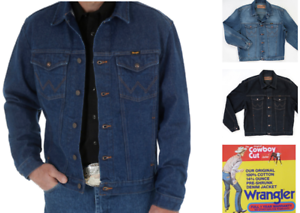 Men-039-s-Wrangler-Cowboy-Cut-Denim-Jacket-Inside-Pockets
