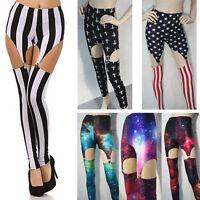 Fashion Punk Rock Super Sexy Garter Leg Stretch Elastic Waist Pants Leggings US