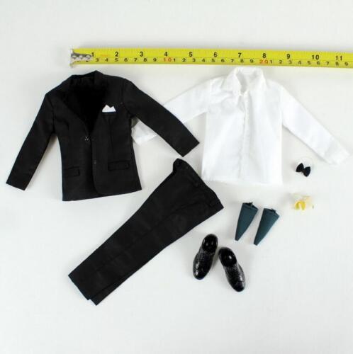 1//6 Black Color tuxedo Suit agent Mr Bean Man clothes for Hot toys ❶US seller❶