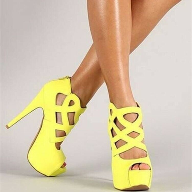 Plate-forme Sandales Parti Nightclub ouvert Toe Stiletto haut talon femme Chaussures Sexy