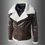 Men's Faux Leather PU Aviator Jacket Fur Lapel Zipper Winter Warm Coat Zsell