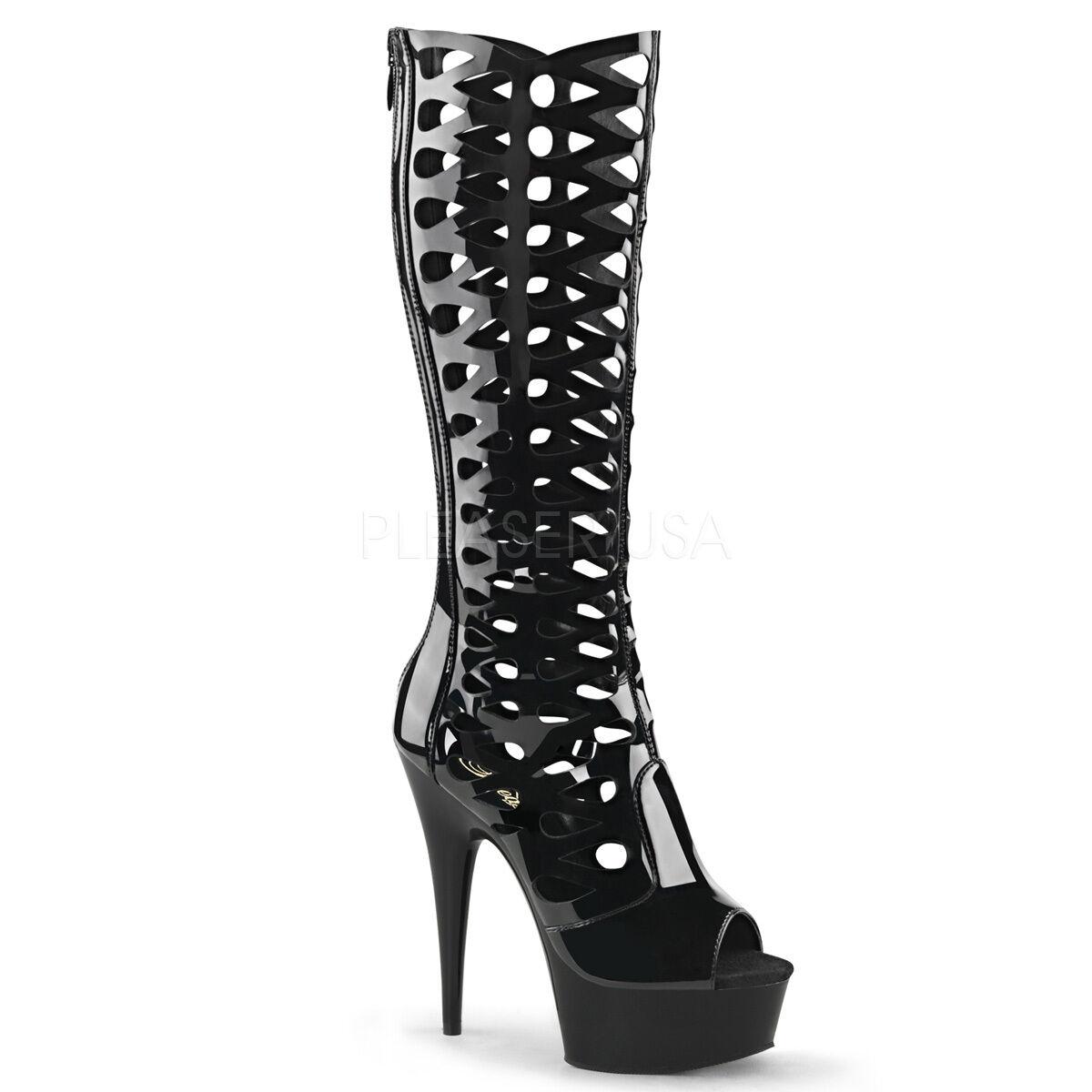 PLEASER - Delight-600-42 Stunning Stiletto Stiefel Heel Peep-Toe Knee High Stiefel Stiletto 683d88